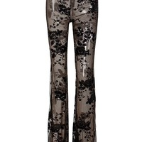 Second Chances Black Sequin Floral Pattern Sheer Mesh High Waist Flare Leg Loose Pants