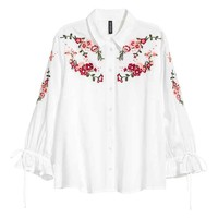 Embroidered blouse - White/Embroidery - Ladies | H&M GB