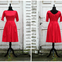 Red Valentine's Day Dress/ 1950s Dress/ 50s Dress/ Red/ Cocktail Party Evening Formal Dress