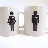 $26.00 Pair of Coffee Mugs  Unique Bride Groom  by simplyprettyprints