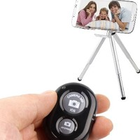 Bluetooth Wireless Remote Control Camera Shutter Release Self Timer for Iphone 5 5s 5c 4s 4, Ipad 5 4 3 Ipad Air Mini, Samsung Galaxy S4 S3 Note 3 2, Android Phone (Black)
