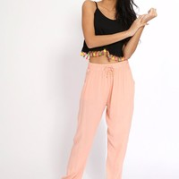 Coral Loose Fit Harem Pants