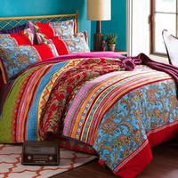 Colorful Stripes and Jacobean Print Boho Style Cotton Luxury 4-Piece Bedding Sets