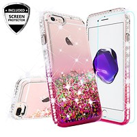 Apple iPhone 7 Plus Case Liquid Glitter Phone Case Waterfall Floating Quicksand Bling Sparkle Cute Protective Girls Women Cover for iPhone 7 Plus - Hot Pink