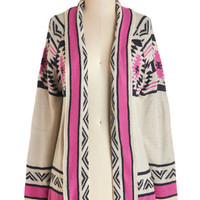 ModCloth Folk Art Mid-length Long Sleeve Red Rock Canyon Cardigan in Fuchsia