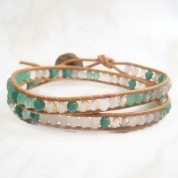 Leather Wrap Bracelet Boho Bracelet Green Wrap Bracelet Beaded Bracelets