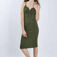 Lace Up Midi Dress - Topshop