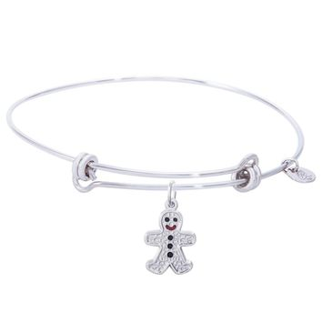 Sterling Silver Balanced Bangle Bracelet With Gingerbread Man Charm