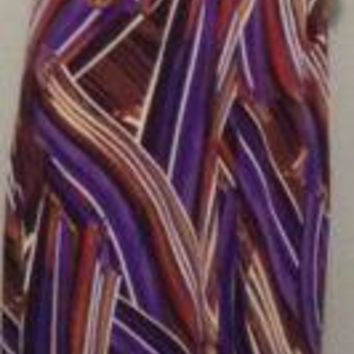 HEART SOUL Halter flapper Maxi Dress cross back loops purple strap stripes art