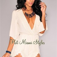 Cream Crochet Accent Faux Wrap Romper