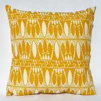 Bright Geometric Print Yellow and White Throw Pillow, 14x14, Dorm Decor – Pillow Insert Included