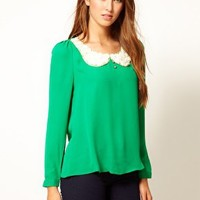 Max C Blouse With Rose Collar at asos.com