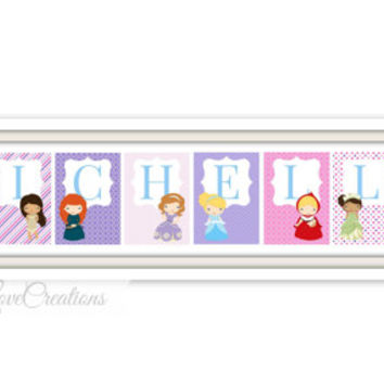 Personalized Princess Name Print // Princess Wall Art // Girl's Room Decor // Princess Playroom // Nursery Print // Name Print