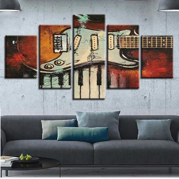 5 Pieces Musical Instruments Vintage Guitar And Piano Keys Musid Wall Art Canvas