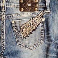 MISS ME JEANS WOMENS WESTERN BLING ANGEL WINGS MISS ME JEANS SIZE 28 SIZE 29