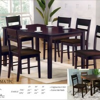 A.M.B. Furniture & Design :: Dining room furniture :: Small Dinette Sets :: Espresso Finish sets :: 7 pc Selma collection espresso finish wood dining table set with slat back chairs and fabric seats