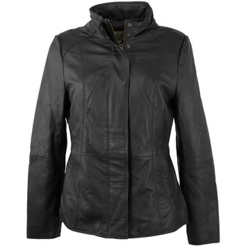 Womens Funnel Leather Jacket