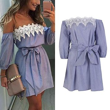 WJ 2017 Summer Boho Women Sexy Lace Off Shoulder Bowknot Dress Bodycon Party Evening Beach Short Dresses with Belt Plus Size