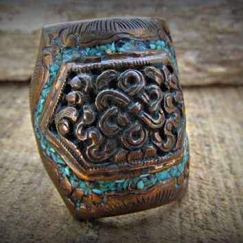 Turquoise Copper Ring~Tibetan Jewelry~Handmade Carved Art, Turquoise Chip Inlay~Copper Plated Jewelry~Gemstone Ring~Mdogstudios~