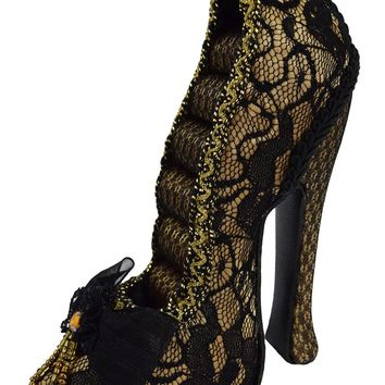Victorian Cabaret Black / Gold Lace Shoe Ring Holder