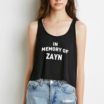 "One Direction ""In Memory of Zayn"" Boxy, Cropped Tank Top"