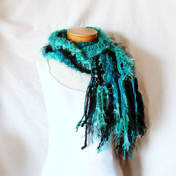 Teal Black chunky scarf Soft feminine neck warmer Crochet chevron wrap Long zig zag striped stole Fuzzy fringe Boho art scarf