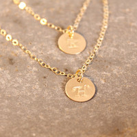 Layered Initial Necklace, All 14K Gold Filled, two personalized discs, double Monogram, letter A B C D E F G H I J K L M N O P R Mom, mother