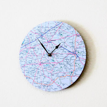 SALE Modern Wall Clock,  Decor and Housewares, Map Clock, Home and Living, Home Decor, Unique Clock, Unique Gift