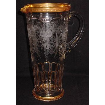 629289 Crystal Pitcher W/Handle, Gold Rim, 13 Rect Cuts On Lower Pr