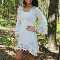 lace crochet off white dress