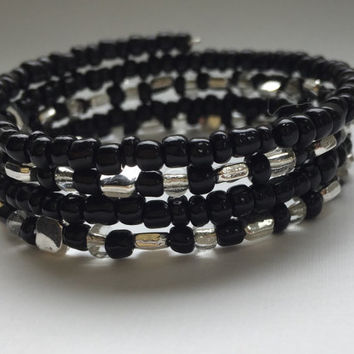 Black and silver beaded wrap bracelet, memory wire bracelet, cuff like bracelet, gift for her,