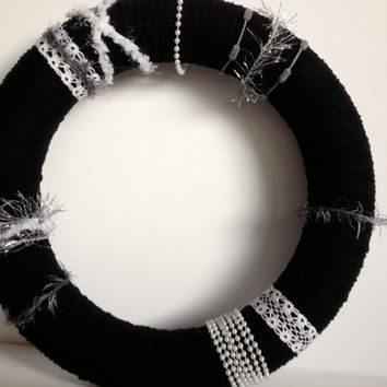 Black and White Yarn Wreath with Lace and Pearls -12 inches