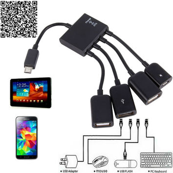 Hot OTG Hub Cable Connector Spliter 4 Port Micro USB For Smartphone Computer Tablet PC Free Ship
