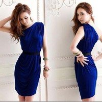 2013 new Sexy Womens Asymmetric One Shoulder Mini Dress Solid Cocktail Party Draped Tunic - save winkie Shop
