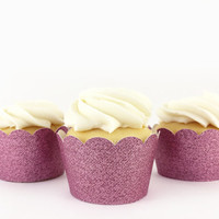Pink Glitter Cupcake Wrappers - Set of 12 - Party Supplies // Wedding Decorations // Babyl Shower