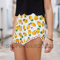 New! Cute Pineapple Print Pom Pom Hem High Waist Beach Shorts Elastic Waist For Grils Limited (only one size)-in Shorts from Women's Clothing & Accessories on Aliexpress.com | Alibaba Group