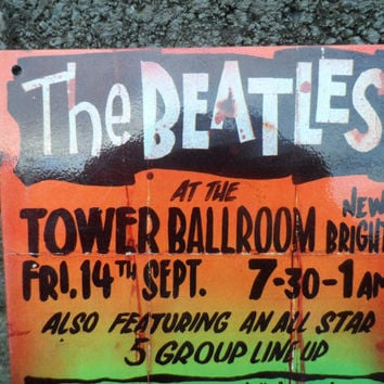 Vintage The Beatles enamel aluminium sign - vintage music rock and roll memorabilia - vintage poster repro sign - bar or man cave decor