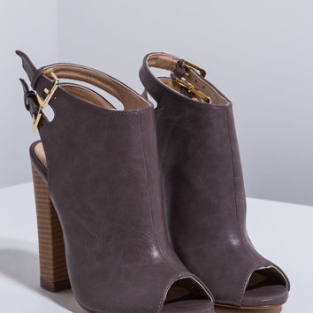 Double Take Chunky Peep-Toe Booties GoJane.com