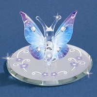 Small Blue Butterfly Glass Figurine w/ Swarovski Elements