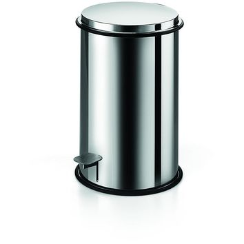 LB Round Step Trash Can Stainless Steel Wastebasket W/ Lid Polished Chrome 5L
