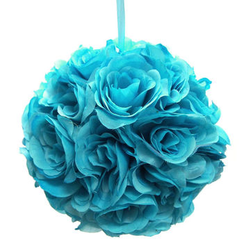 Flower Kissing Balls Wedding Centerpiece, 10-inch, Turquoise