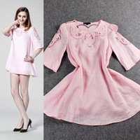 Solid Embroidered Mesh Cutout Bell Sleeve Loose Mini Dress