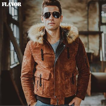 Men's real leather jacket Genuine Leather jacket hooded motorcycle jackets fur hat coat