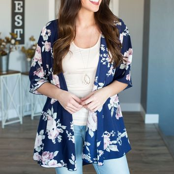 Paige Floral Cardigan- Navy