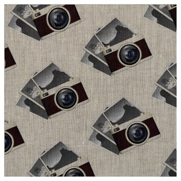 "RETRO CAMERA Natural Linen (54"" width) Fabric"