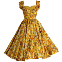 1950's Carlye Marigold-Yellow Floral Print Silk Shelf-Bust Full Party Dress