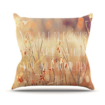 "Suzanne Carter ""You are Precious"" Quote Outdoor Throw Pillow"