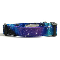 Dog Collar - Galaxy Dog Collar - Space Dog Collar - Space Age Dog Collar - Fabric Dog Collar - Blue Dog Collar - Space Dog - Star Dog Collar