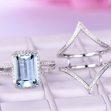 Emerald Cut Aquamarine Engagement Ring Sets Pave Diamond Chevron Ring Guard 14K White Gold 8x10mm,Contoured Band