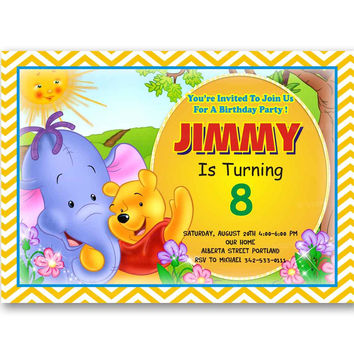 Winnie the Pooh n Friends Chevro Orange Kids Birthday Invitation Party Design